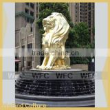 Large outdoor Metal Sculptures Gold Lion Statue For Square