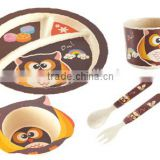 Biodegradable bamboo fiber material Cute animals design Kid Dinner Set