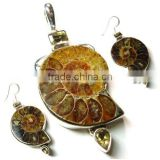 Ammonite Fossil earrings pendant jewelry set 925 handmade jewelry