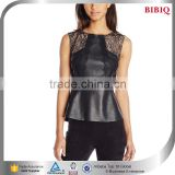 sexy woman modern casual clothes elegant black leather corset tops lace shirt patchwork latest blouses                                                                         Quality Choice