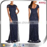 new most popular items sequin navy blue evening gown models islamic wedding dresses hijab navy shimmer black dress