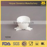 hot sell microwave white glaze custom ceramic egg cup wholesale