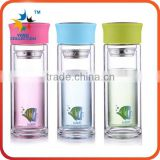 double walled glass bottles with bamboo lid wholesale tea filter borosilicate glass water bottle