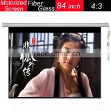 Hot selling HD Electric Motorized Wall Mount 4:3 for 3D Cinema Office 84 inch projector screen stand