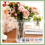 China Style New Arrival Cheap K9 Crystal Clear Glass Decorative Flower Shaped Glass Vase For Wedding Decoration
