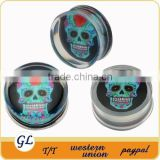 TP02975 saddle piercing transparent acrylic skull acrylic plug earrings , piercing body jewelry