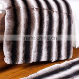 2016 Classic Design Chinchilla Rex Rabbit Fur Carpet Striped Fur Sofa Blanket Home Luxury Sheet