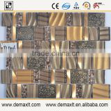 Top1 mosaic factory Hot sale crystal glass mix marble mosaic tile for Coffee Shop Decorative
