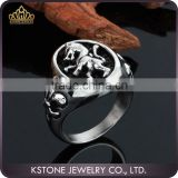 KSTONE Wholesale High Quality Cool Vintage Lion Head Ring Jewelry cross 316L Stainless Steel Rings