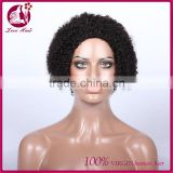 Glueless short full lace 100% human hair wig natural wig for black woman burmese afro curl hair wig