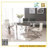 Luxury design rectangle marble top metal dining table sets with leather tufted dining chair