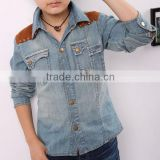 New style casual wear fashion breathable boys denim shirt stock