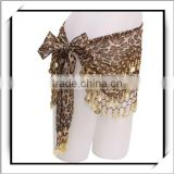 HOT! Leopard Grain Gold Belly Dance Coins Hip Scarf