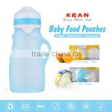 Food grade silicone reusable baby snack puree fruit pouch with cap