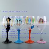 Wedding Gift Frosted Decal Glass Goblet Coloured Long-stem Wine Glass