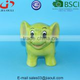 BSCI Audit Factory glazed light green Ceramic Elephant bank, Child to Cherish coin bank