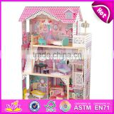 New style girls pretend play miniature wooden dollhouse toy with 16 pieces furniture W06A220