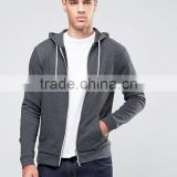 Custom Pouch Pockets With Hood Zipper UpDark Grey Men's 62% Cotton 38% Polyester Casual Breathable Lightweight Autumn Hoodies
