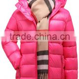 custom made children casual long duck down jacket/design kids girls lightweight feather filled down wear