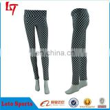 New Style Black and White Squre Panels Grids Printed Pants Leggings Polyester Spandex Plaid Pants &trousers for Women