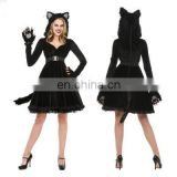 2017 cosplay sexy black cat skirt for Halloween party