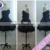 Short taffeta with decorating flower beaded ball gown part cocktail dress