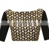 BLACK RAW SILK READYMADE BLOUSE FOR WOMEN