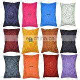 16* Indian Vintage Decor Throw Cushion Cover Embroidery Mirror Work Pillow Case Sofa Throw cushion cover ethnic home decor Art