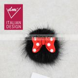 Hotest fur pompom and bowknot brooch