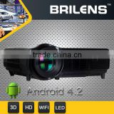 Wireless connect mobile phone Android 4.22 720P digital LCD LED projector to home theater