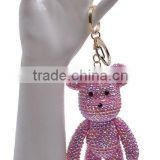 2016 New Handmade Gold Bear with Pearl Bling Keychain with Lobster Clasp