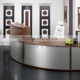 Modern Chinese factory wholesale and High Quality Curved Stainless Steel and Wood Office Table,Office Reception Desk (SZ-RT042)