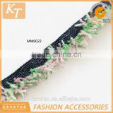 Colorful cotton brush fringe trim with black band