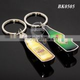 Promotional Gift Mini Beer Bottle Shape Custom Printing Zinc Alloy Silver Metal Bottle Opener Keychain