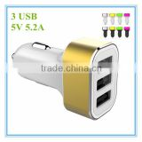 hot sale oem black and white with colorful aluminum ring led 3 port 5v 5.2a usb adapter cd charger