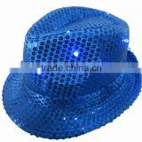 Sequin Black Fedora Hats with Flashing LEDs