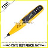 China Factory digital LCD display voltage screwdriver type tester with two color plastic injection and Gold PCB