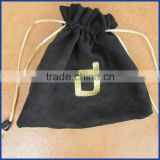 customized suede drawstring gift pouches gold logo