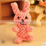 Wholesale pet cotton rope supplies Pet knotting rabbit shape dog toy clean teeth cleaning dog teeth Pet woven toys