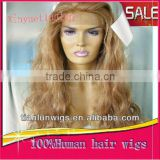 Hot Production 100%Virgin Brazilian .#18 20 inches Body Wave Human Hair Full Lace Wigs glueless for women Accept Customer Order