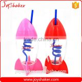 Reusable Creative Joyshaker Rocket Water Bottle, Plastic Cup With Straw For Kids                                                                         Quality Choice