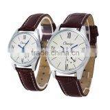 Factory wholesale simple style leather quartz valentine couple watches with date