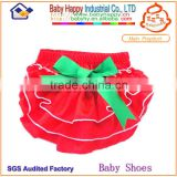 Red satin baby bloomer pant