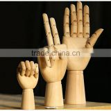 New Coming Cartoon Joint Wooden Hand for Decoration,3 Style Wooden Hand Toys for Children/Friends