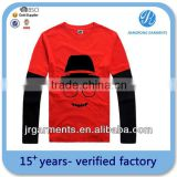 Garment Factory Direct Kid's CVC Fabric Crewneck Long Sleeve T Shirt Basic T Shirts Any Color Available