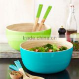 High quality best selling eco friendly Set of Spun bamboo bowl and salad servers from Viet Nam