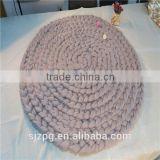 Chunky knitted Merino wool throw blanket round thick blanket mats carpet