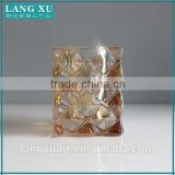 LX-Z133 amber colored bling diamond square crystal heavy glass votive candle holder