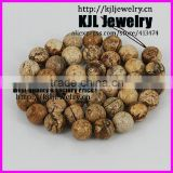 KJL-A0175 high quality Natural wooden color stone round beads ,10mm charm agate jewelry beads for bracelet and necklace making
