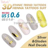 custom hot selling Feather & Arrow nail art sticker decals Gold Silver metallic tattoo sticker set